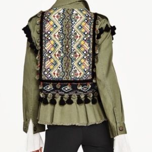 Zara Woman green embroidered tassel army jacket XS